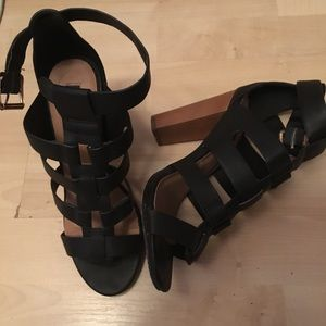 Black Caged Chunky Heels